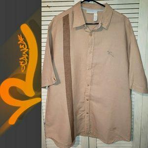 🔮ROCAWEAR Brown Casual Short Sleeve Shirt Size XL